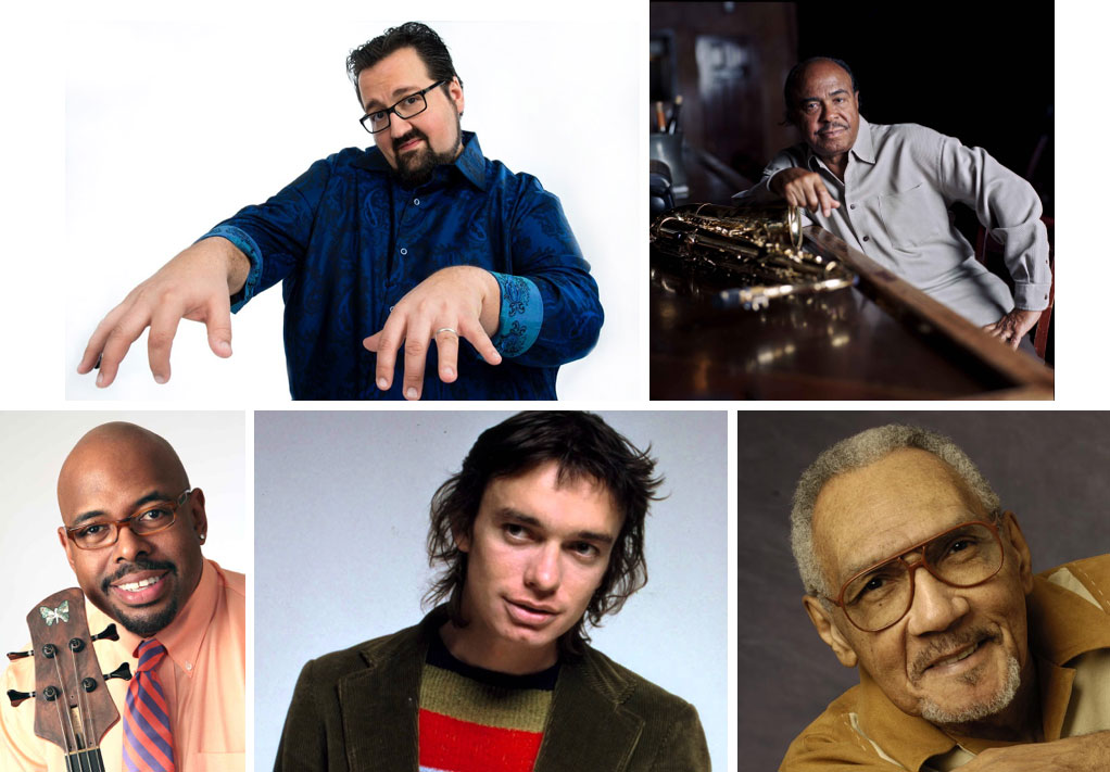 Clockwise from Top Left: Joey DeFrancesco, Benny Golson, Bob Perkins, Jaco Pastorius, and Christian McBride